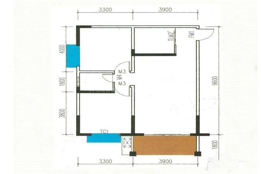 2#C户型 2室2厅1卫 建筑面积:89平米