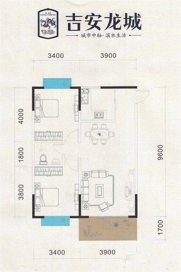5#B户型 2室2厅1卫 建筑面积:89平米