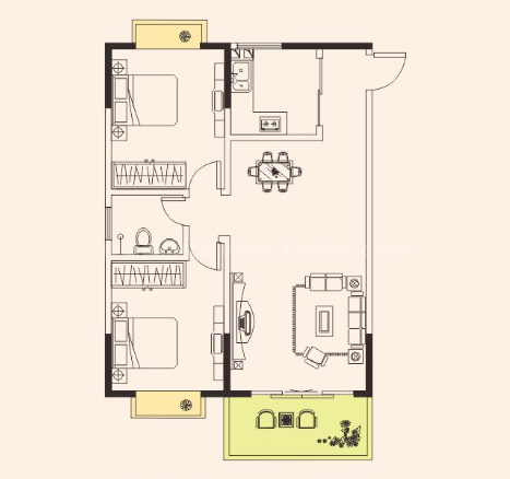 两房两厅一卫 2室2厅1卫 建筑面积:89平米