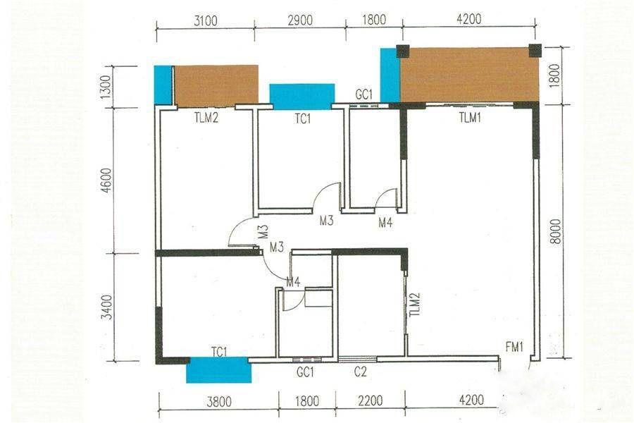 2#A户型 3室2厅2卫 建筑面积:122平米