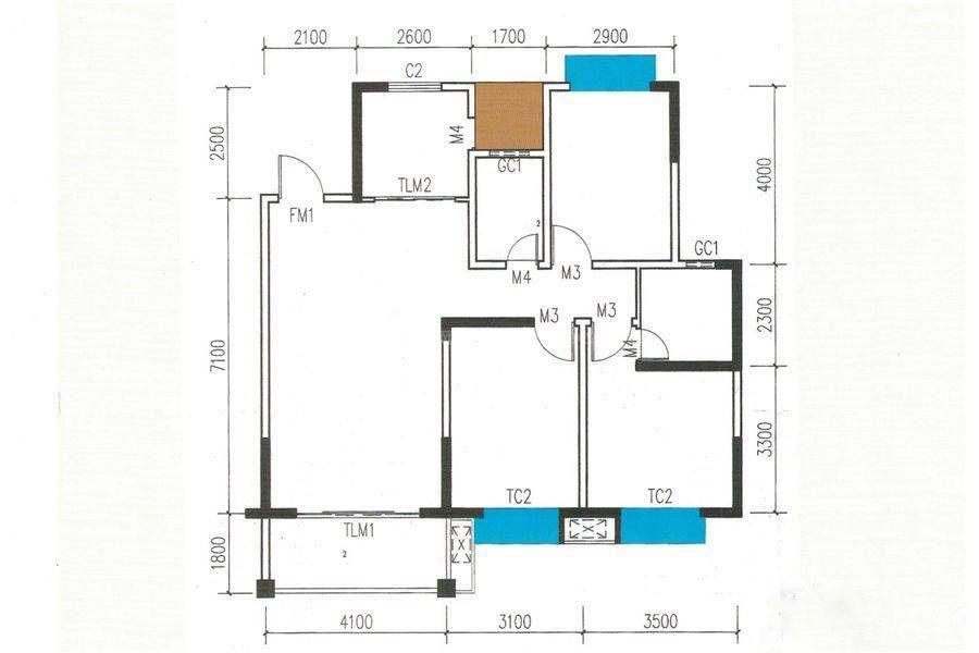 4#B户型 3室2厅2卫 建筑面积:116平米