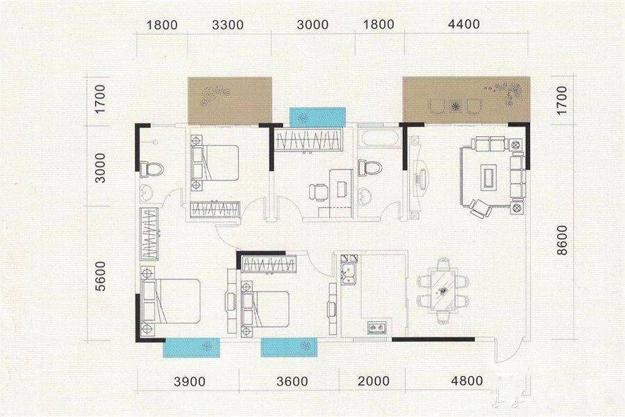 5#A户型 3室2厅2卫 建筑面积:154平米
