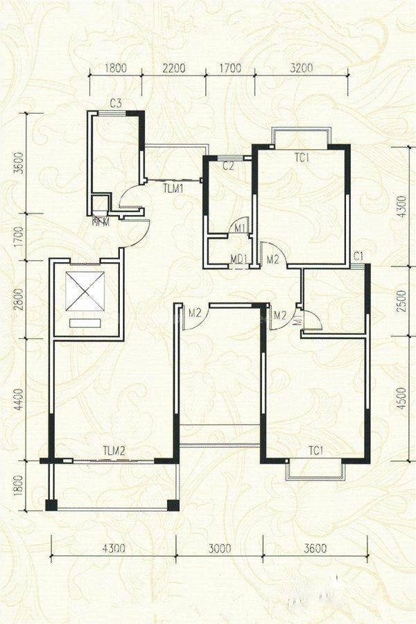 6#A户型 3室2厅3卫 建筑面积:132平米