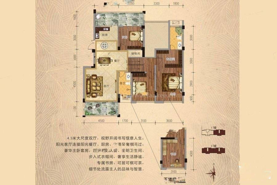 C2户型 4室2厅2卫 建筑面积:125平米