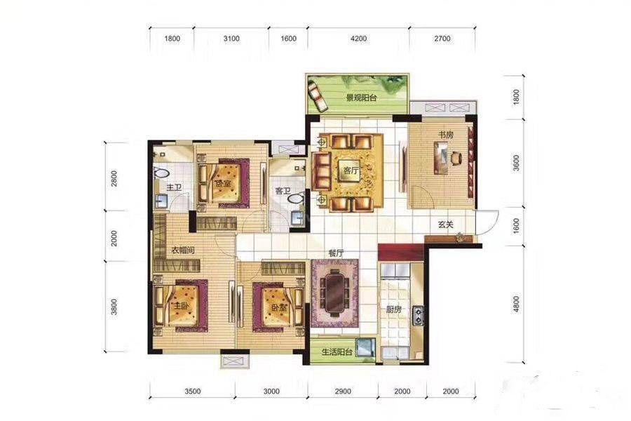 18-23#4A户型 4室2厅2卫 建筑面积:122平米