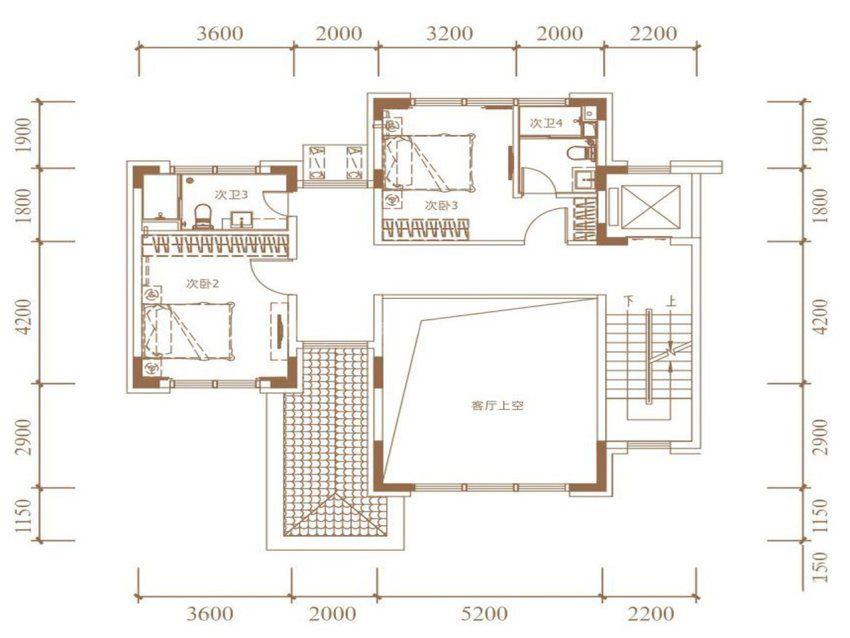 A户型, 双拼别墅, 建筑面积约265.00平米 二楼