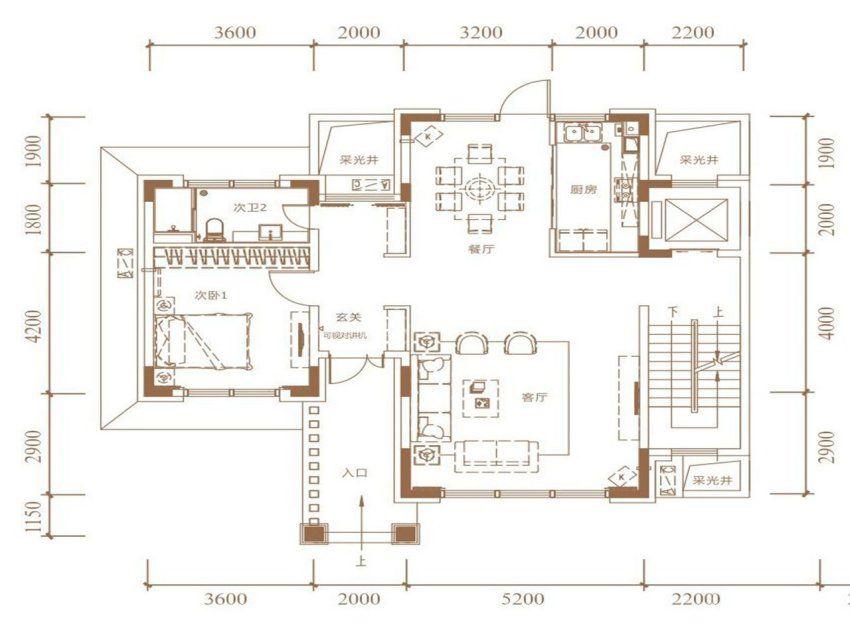 A户型, 双拼别墅, 建筑面积约265.00平米 一楼