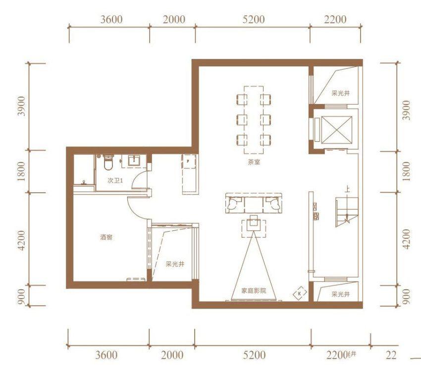 B户型, 双拼别墅, 建筑面积约265.00平米 地下室