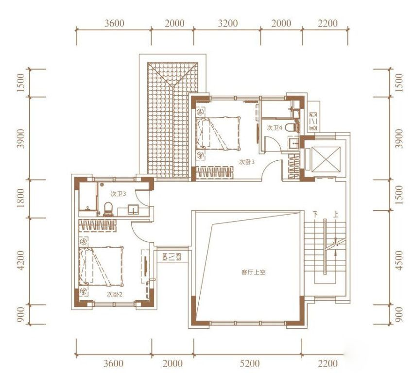 B户型, 双拼别墅, 建筑面积约265.00平米 二楼