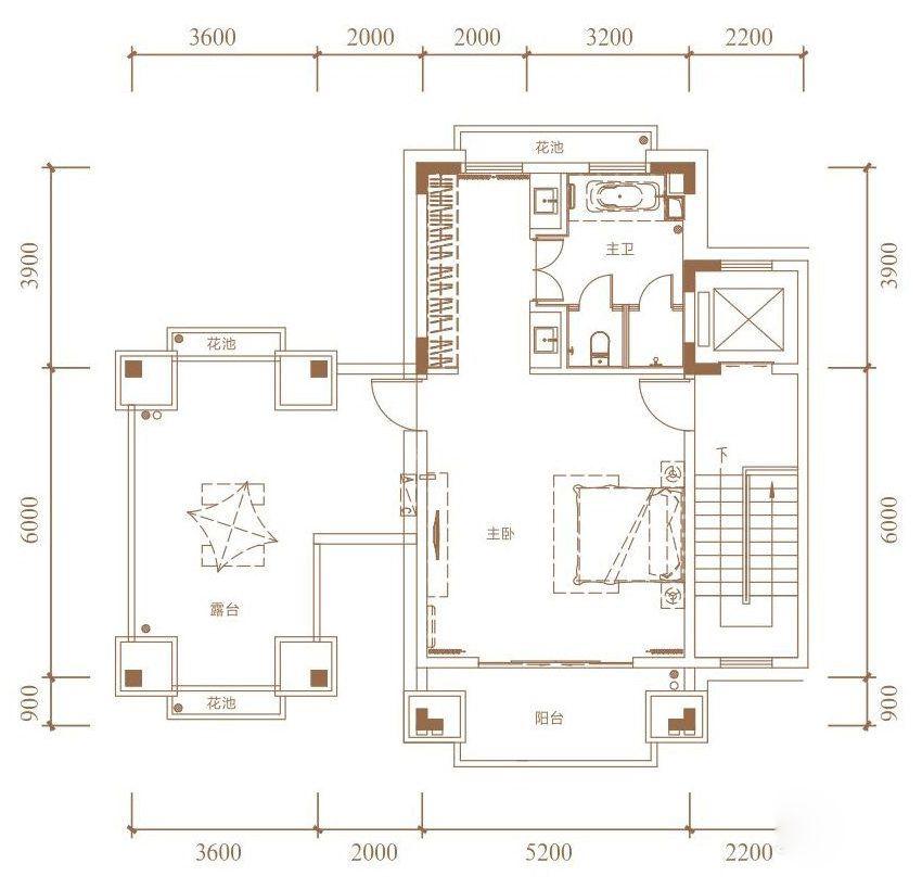 B户型, 双拼别墅, 建筑面积约265.00平米 三楼
