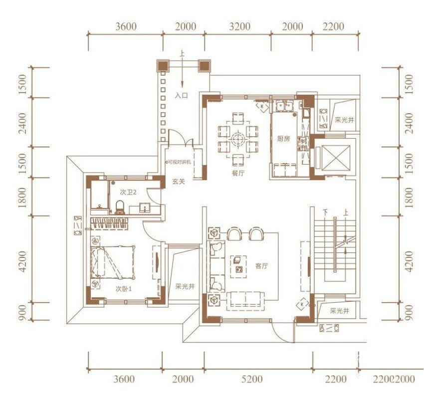 B户型, 双拼别墅, 建筑面积约265.00平米 一楼