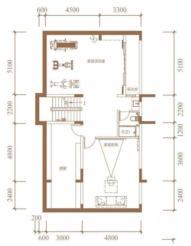 花园联排户型 4室2厅4卫1厨 建面330㎡(地下一层)