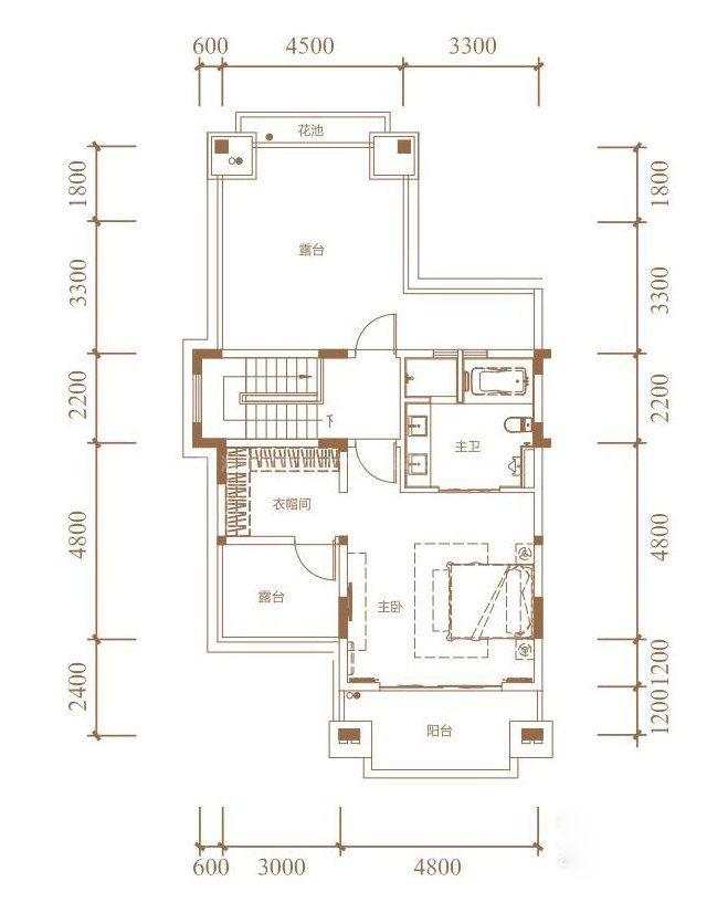 花园联排户型 4室2厅4卫1厨 建面330㎡(三层)
