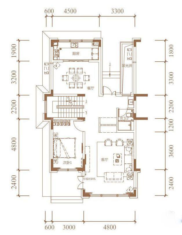 花园联排户型 4室2厅4卫1厨 建面330㎡(一层)