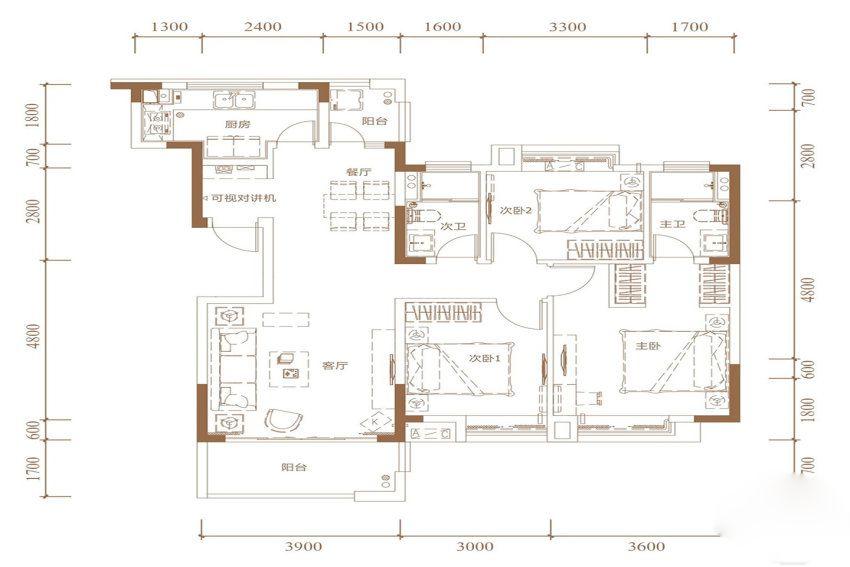 低密奢适华宅户型 3室2厅2卫1厨 建面112㎡