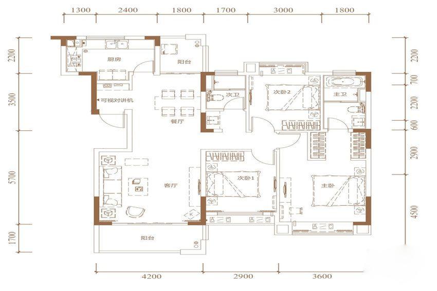 3室2厅2卫1厨, 建筑面积约125.00平米