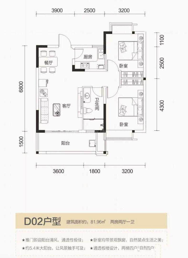 D02户型两房两厅一卫81.96平方米