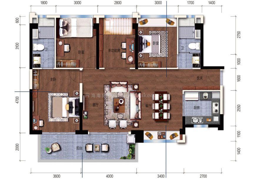 H户型 建面 130m² 4室2厅1厨2卫