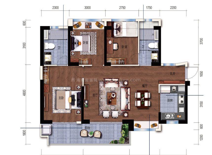 C户型 建面 118m² 3室2厅1厨1卫