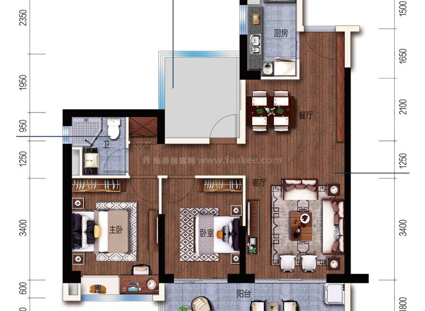 D户型 建面 89m² 3室2厅1厨1卫