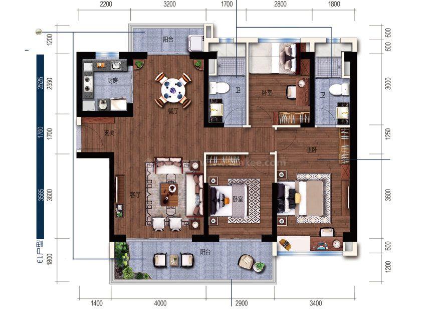 E户型 建面 119m² 3室2厅1厨2卫