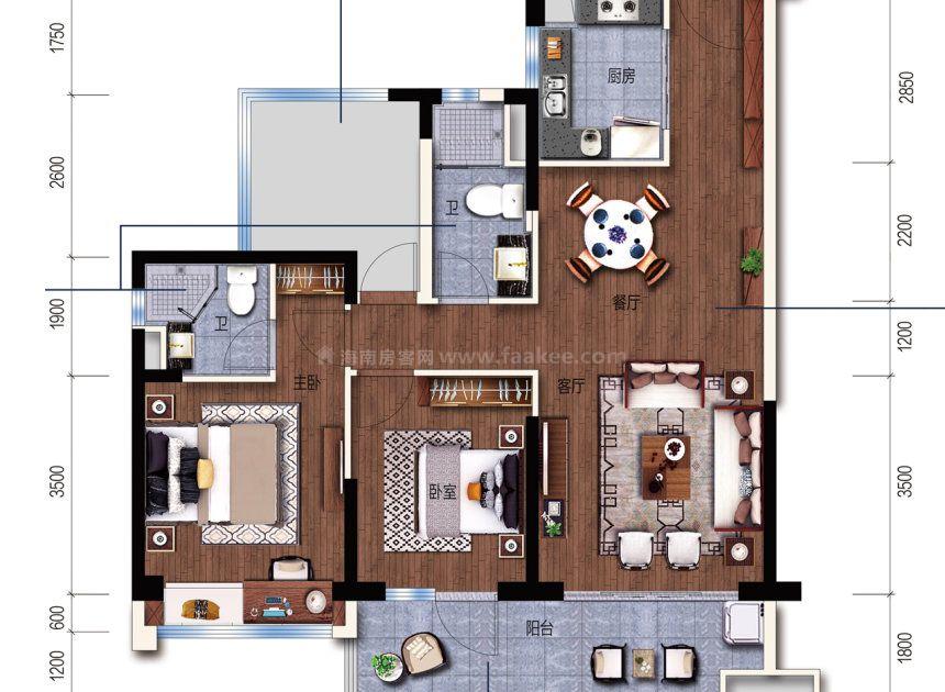 G户型 建面 101m² 3室2厅1厨2卫