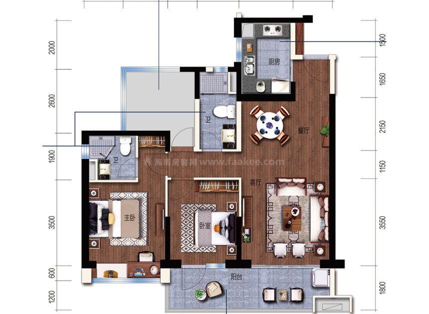 A户型 建面 102m² 3室2厅1厨1卫