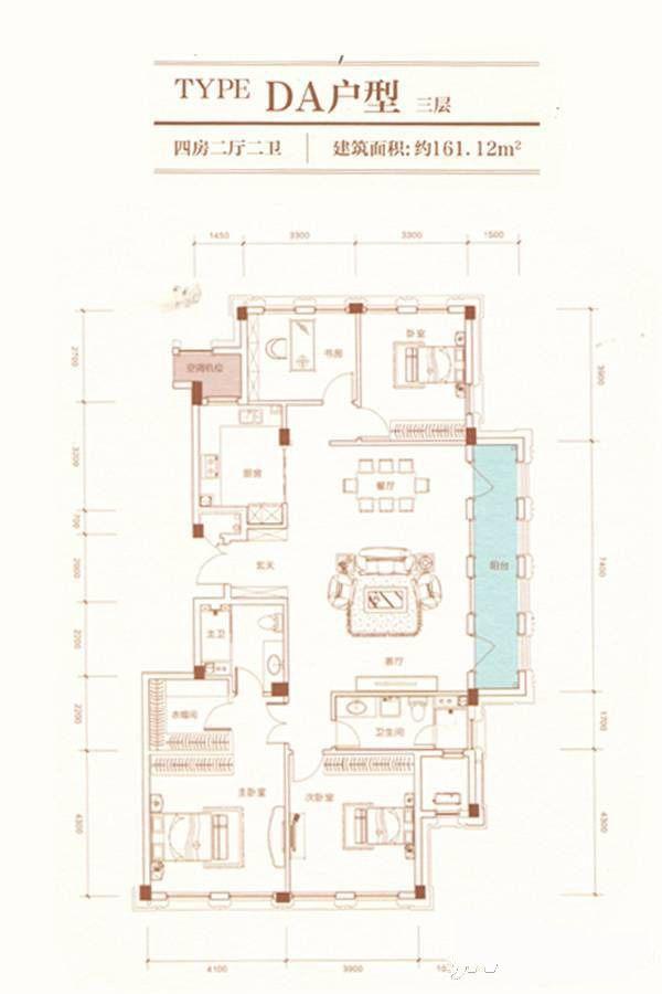 A23栋DA户型 4室2厅2卫 建筑面积:161平米