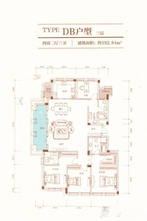 A23栋DB户型 4室2厅1卫 建筑面积:193平米