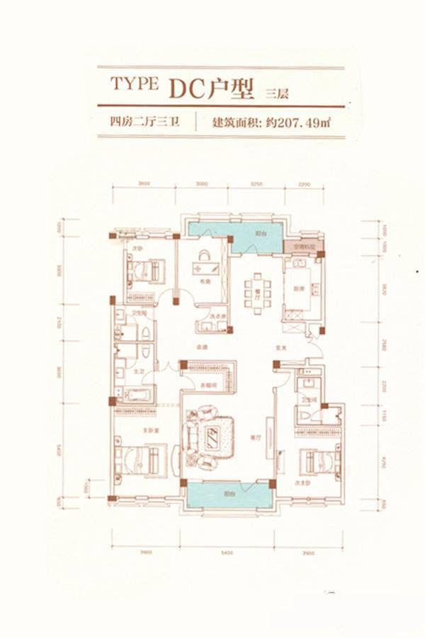 A23栋DC户型 4室5厅3卫 建筑面积:207平米