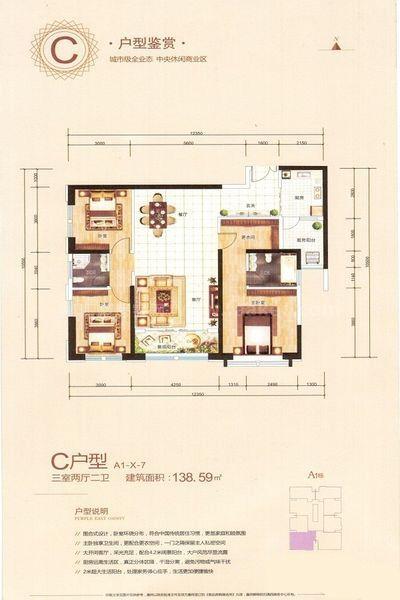 A1-C户型-X-7 3室2厅2卫2厨 建筑面积:138㎡