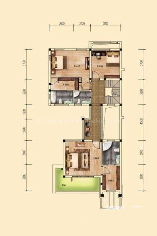 桂林公馆原乡墅三进两院大宅墅(P1)二层户型 3室2厅3卫