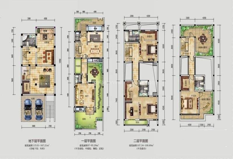 桂林公馆原乡墅风景墙院花园墅P2户型 5室3厅5卫1厨 建筑面积:258平米