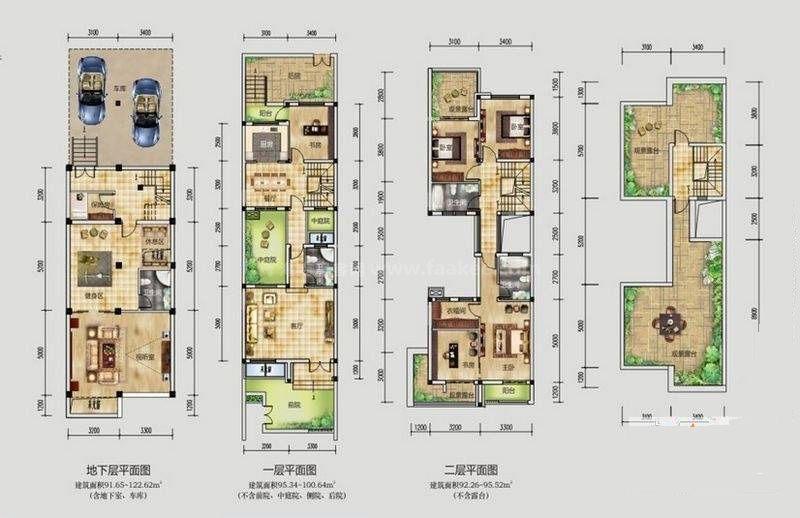 桂林公馆原乡墅亦墙亦院情景墅P4户型 5室3厅4卫1厨 建筑面积:196平米