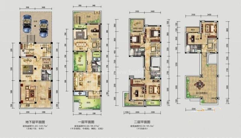桂林公馆原乡墅前庭后院景墙墅P3户型 6室3厅4卫1厨 建筑面积:235平米