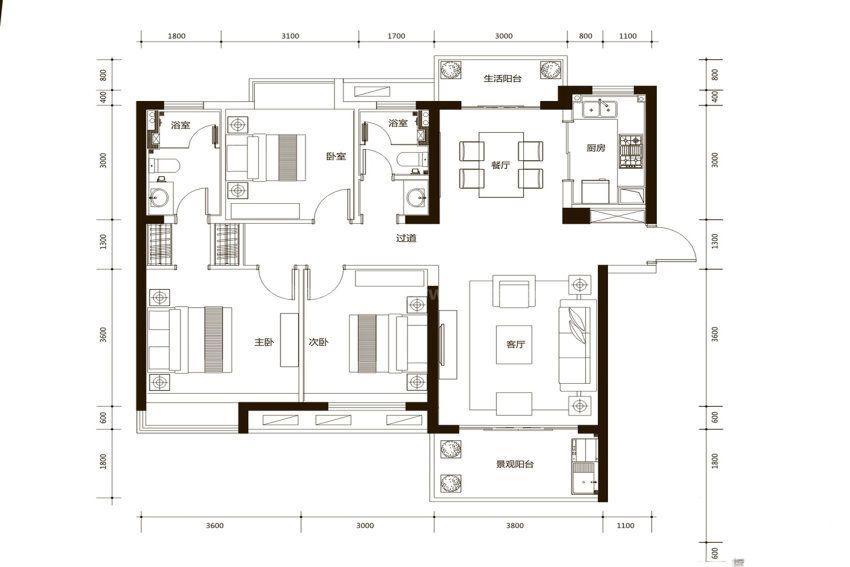 A1户型, 3室2厅2卫1厨, 建筑面积约118.00平米