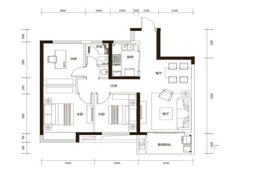 A2户型, 3室2厅1卫1厨, 建筑面积约90.00平米