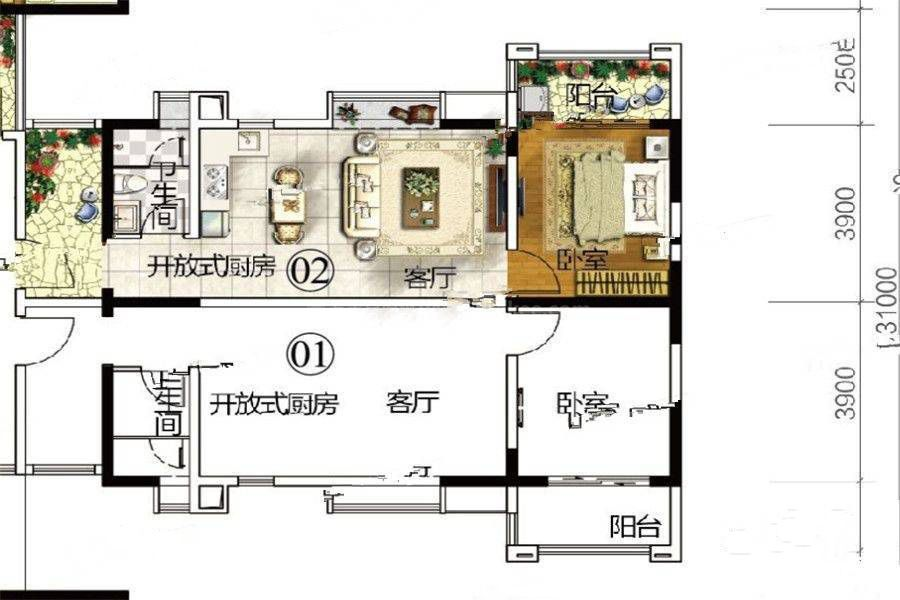 H1户型 1室1厅1卫 建筑面积:58㎡