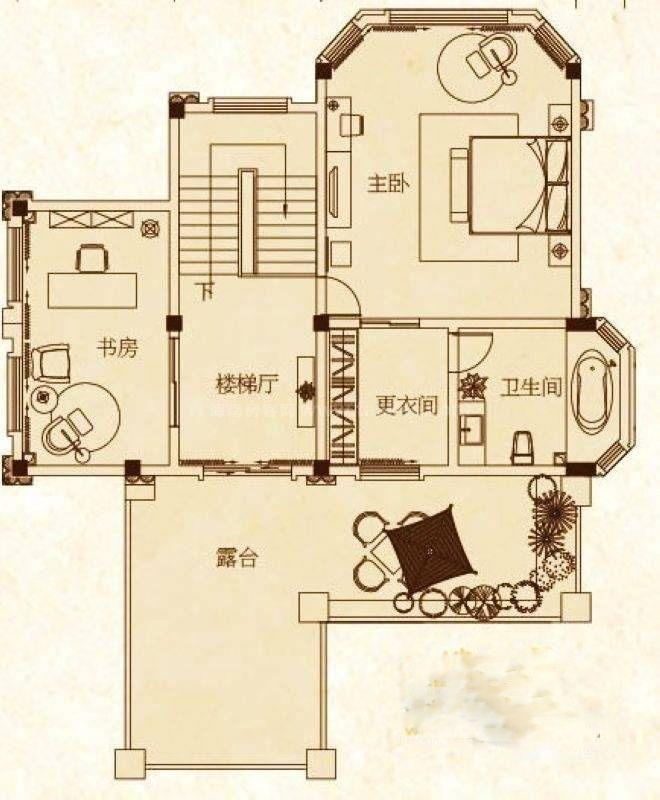 巴塞香墅独栋别墅D1户型 2室1厅1卫 建筑面积:94平米