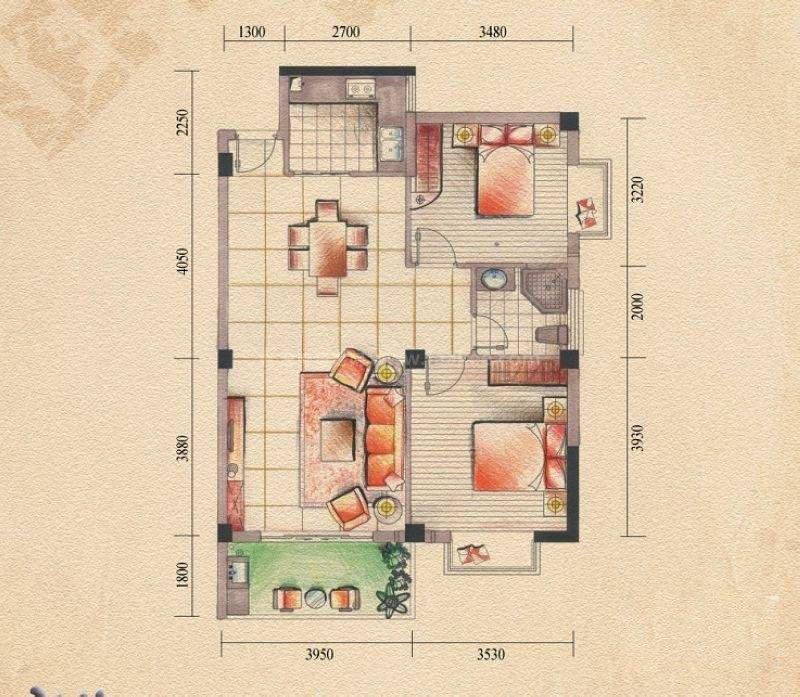 桂林奥林匹克花园10#13#15#H户型 2室2厅1卫 建筑面积:88平米