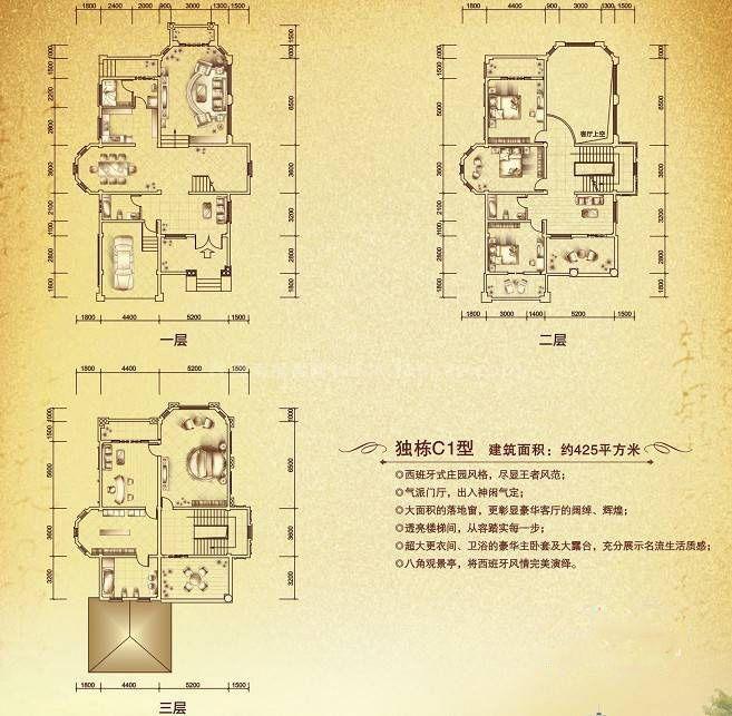 巴塞香墅独栋别墅C1户型二层 3室2厅1卫 建筑面积:127平米