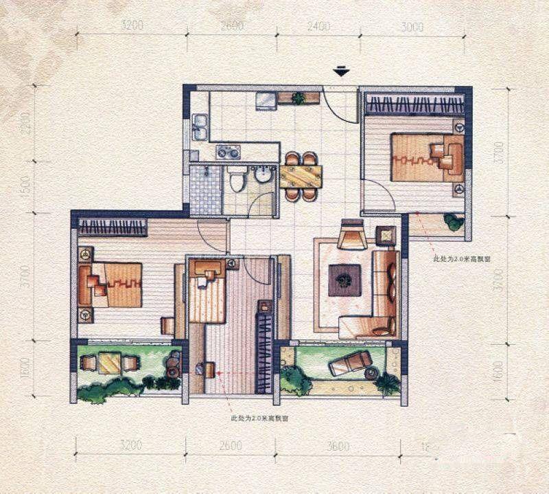 左岸巴黎组团23#G户型 3室1厅1卫 建筑面积:93平米