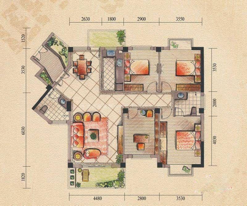 10#13#15#户型 4室2厅2卫 建筑面积:140平米