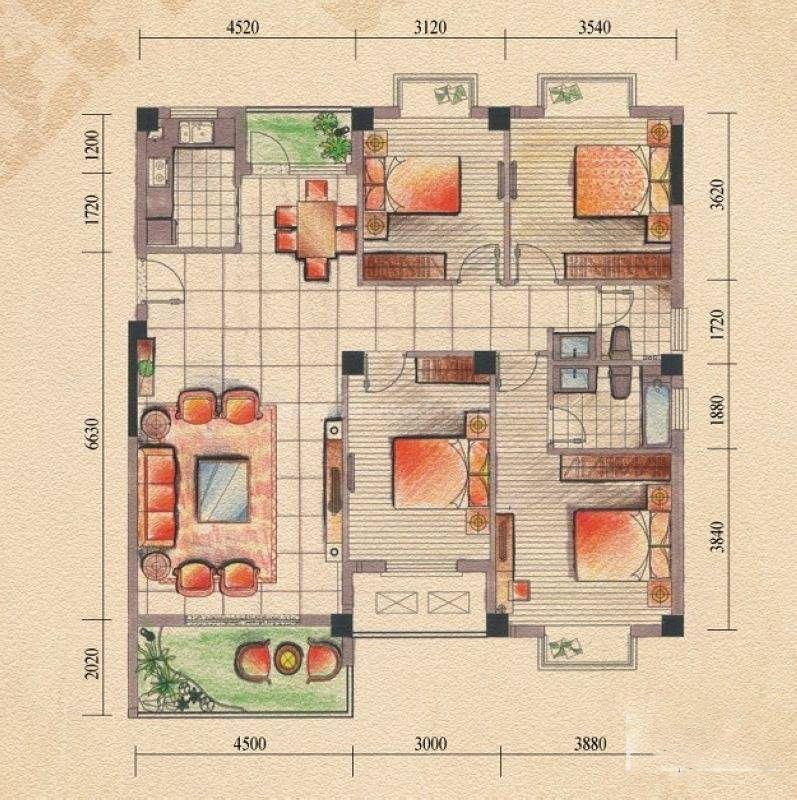 左岸巴黎8#C户型 4室2厅3卫 建筑面积:143平米
