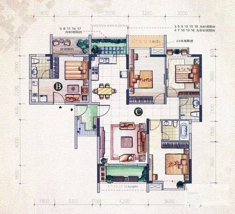 左岸巴黎组团22#BC户型 4室2厅3卫 建筑面积:157平米