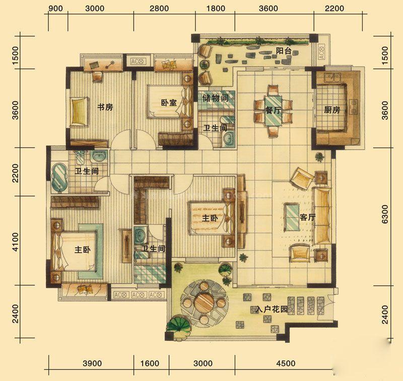 4室2厅3卫, 建筑面积约167.72平米