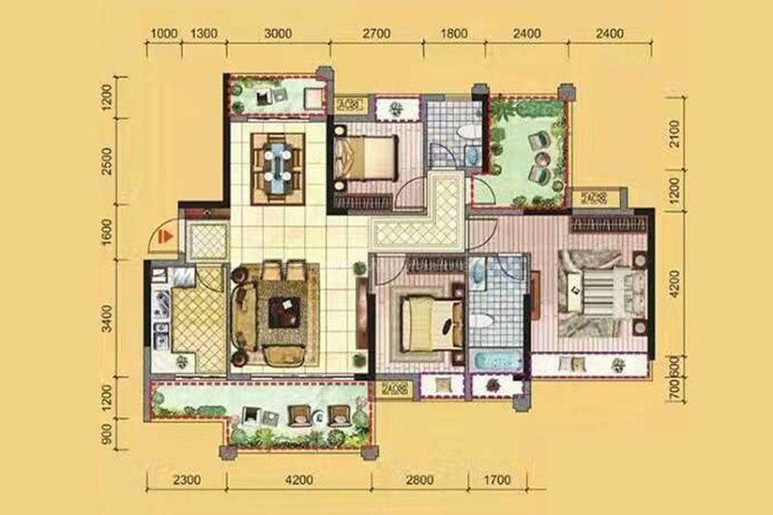 3B户型, 3室2厅2卫1厨, 建筑面积约125.00平米