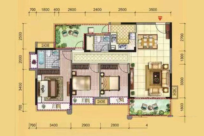 3C户型, 3室2厅2卫1厨, 建筑面积约115.00平米