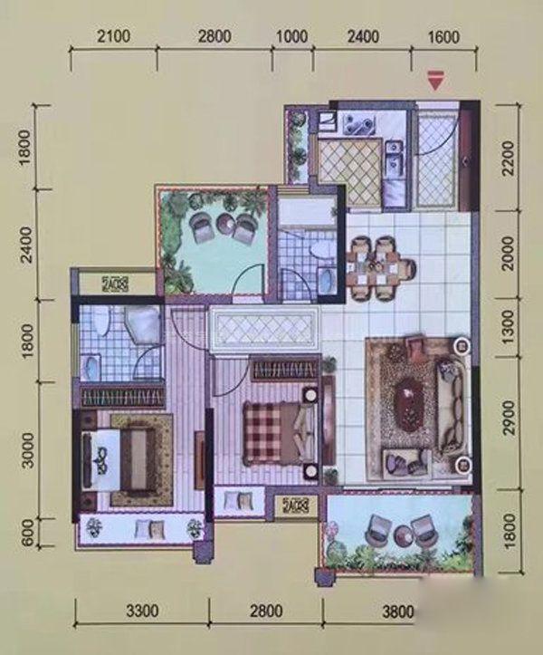 2A户型, 2室2厅2卫, 建筑面积约88.00平米
