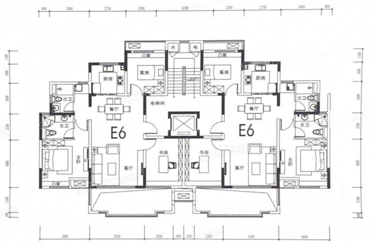 E6户型 2室2厅2卫1厨 建筑面积:110㎡